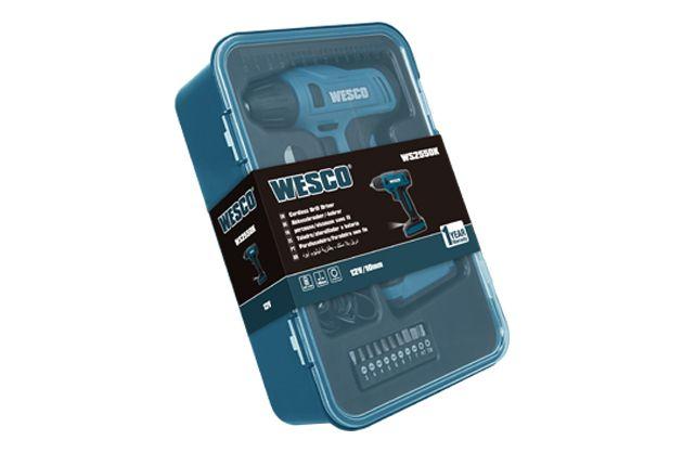 Parafusadeira Furadeira 12V Lítio + Kit 14 peças WS2550K Wesco