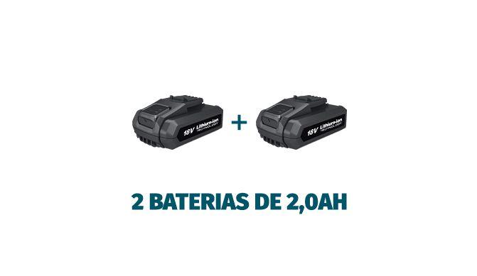 Parafusadeira Furadeira 18V Impacto 2 Baterias Motor BL Wesco