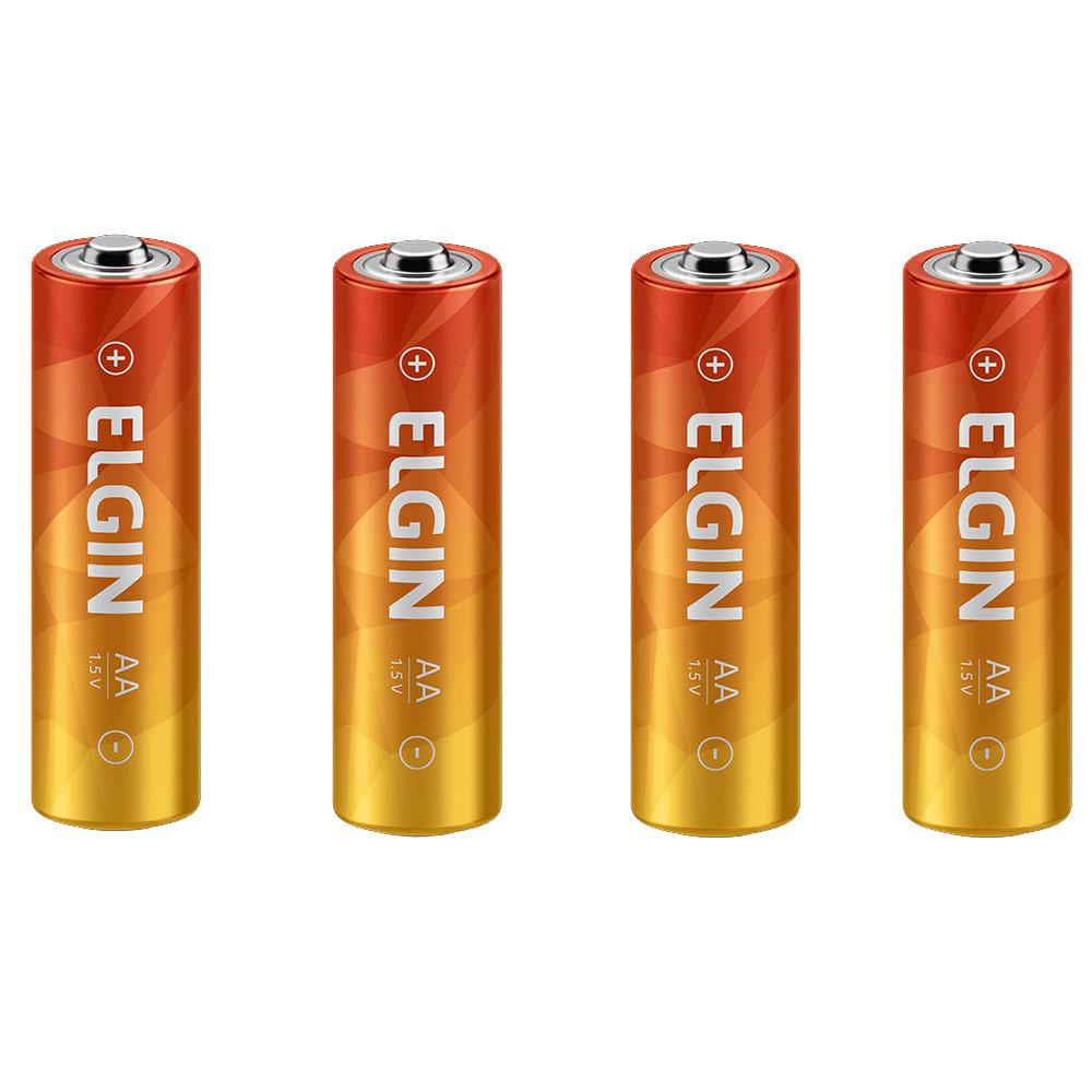 Pilha Pequena AA de Zinco com 4 Unidades 1,5V 82185 Elgin