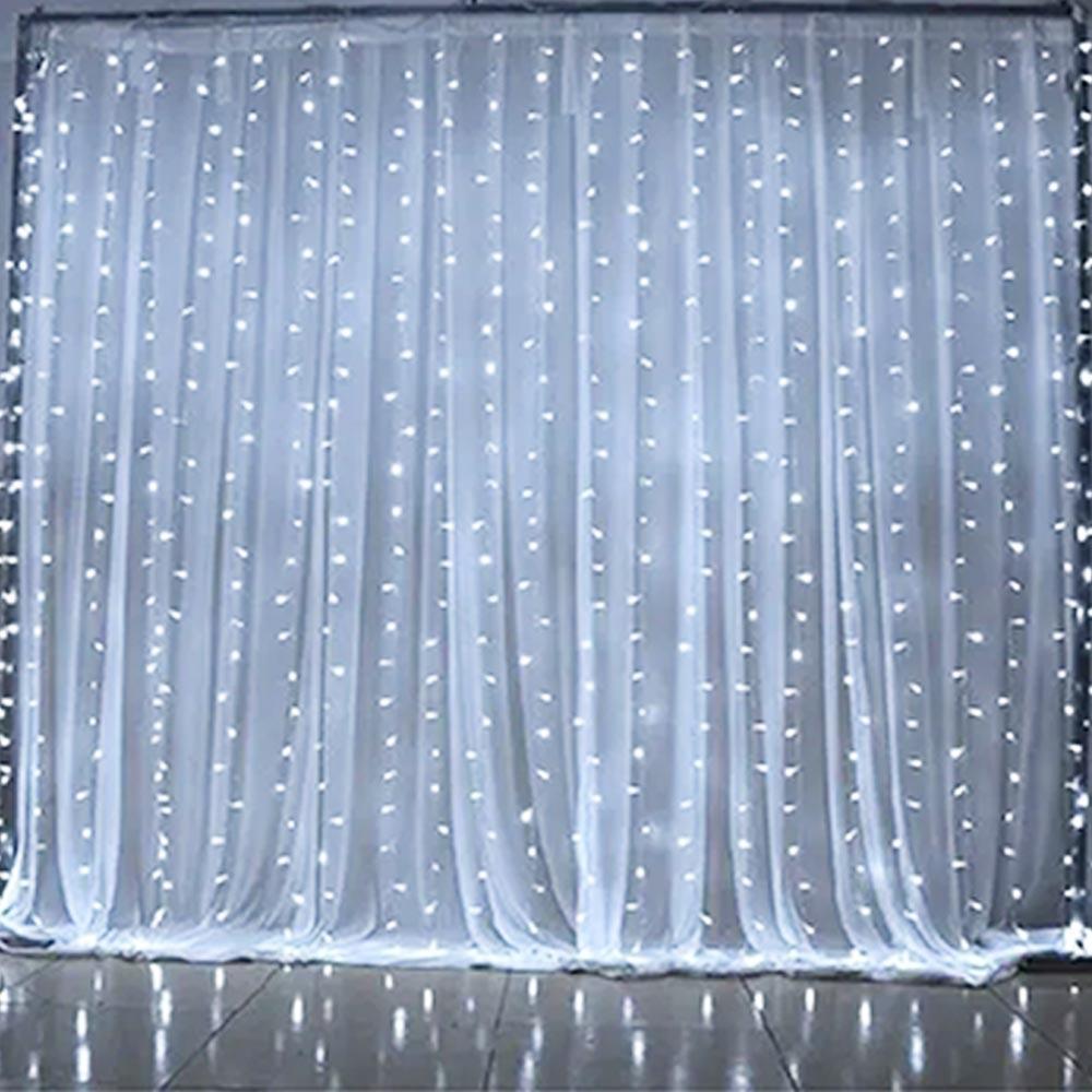 Pisca Luz Decorativo Cortina/Cascata 576L 36W Branco Galaxy