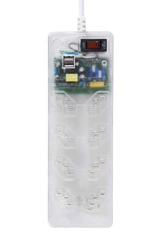 Protetor Contra Raios DPS + Filtro de Linha 8 Tomadas + USB Clamper