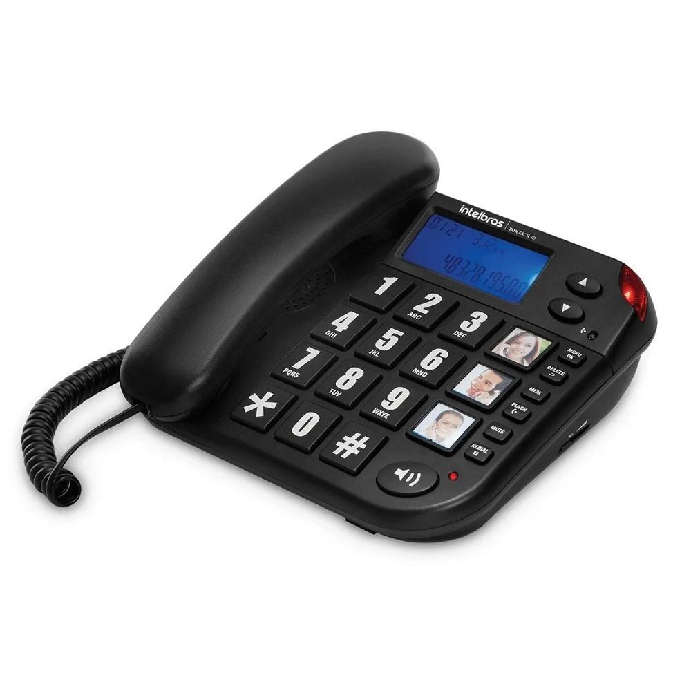 Telefone com Fio 3 Teclas de Memória Tok Fácil ID Intelbras