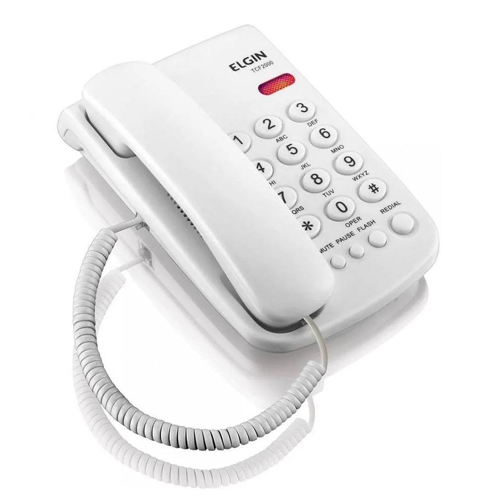 Telefone Fixo com Chave de Bloqueio Branco TCF 2000 Elgin