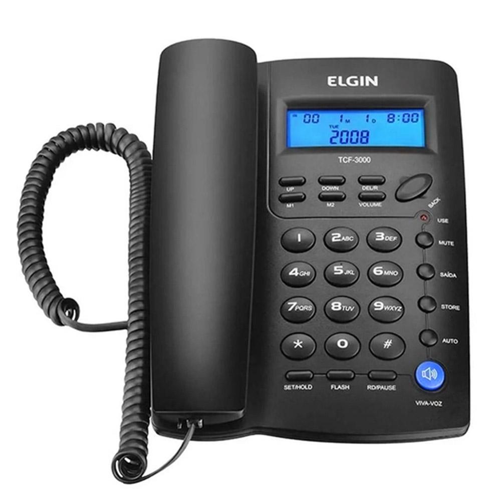 Telefone Fixo com Identificador de Chamadas TCF 3000 Elgin