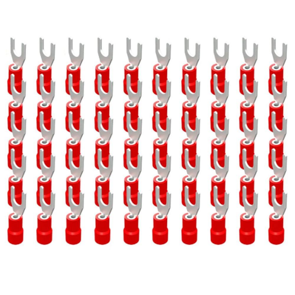Terminal Garfo 0,5 x 1,5mm² 9A Vermelho c/ 50 Peças Decorlux