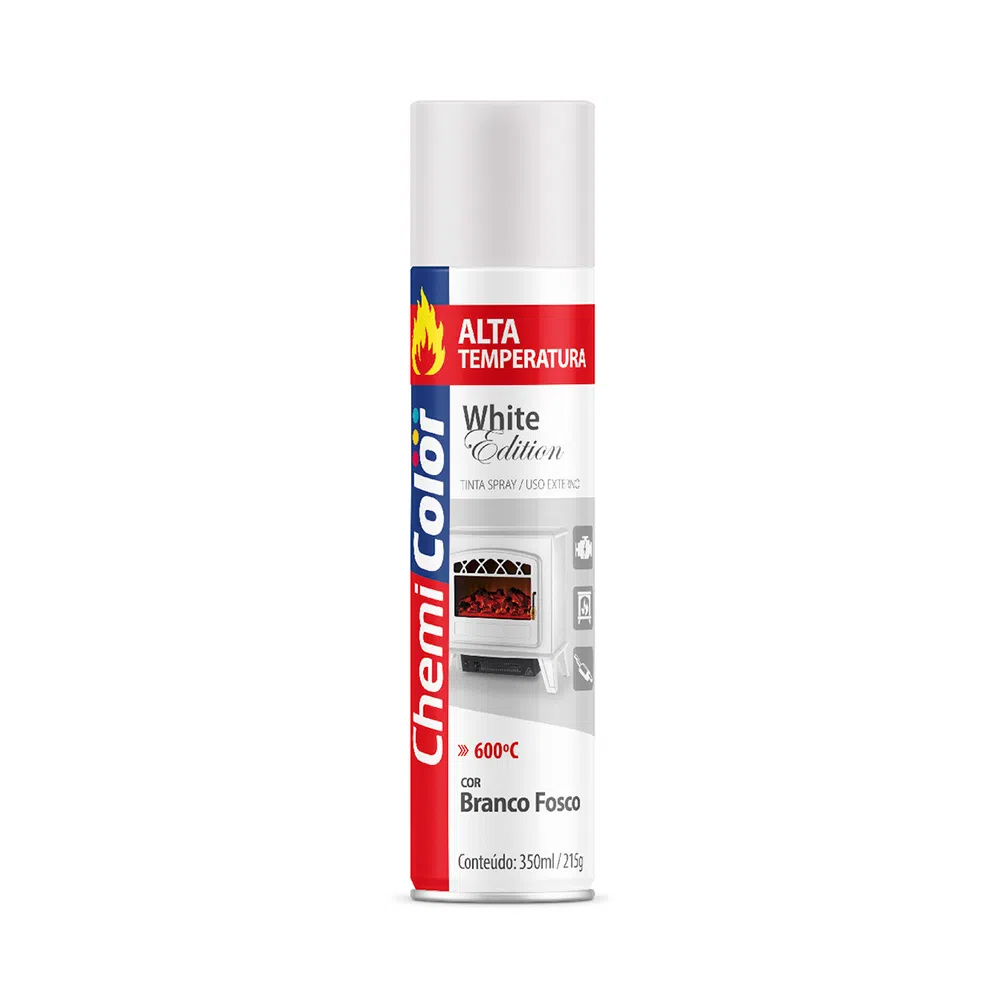 Tinta Spray Alta Temperatura Uso Externo Branco ChemiColor