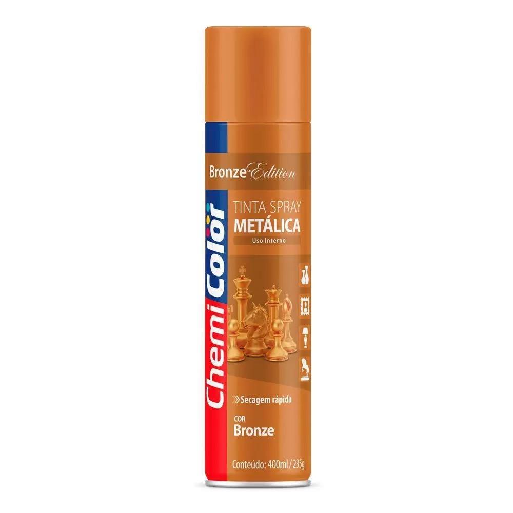 Tinta Spray Metálica de Uso Interno Bronze 400ml ChemiColor
