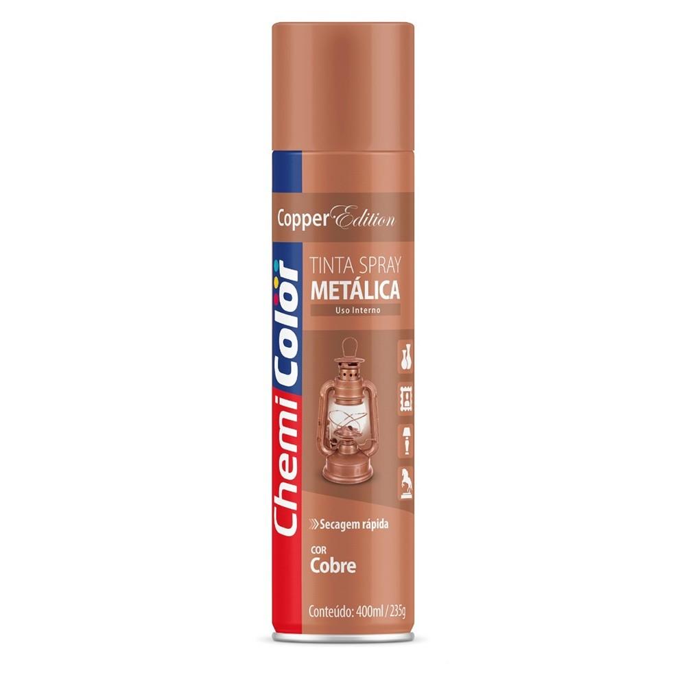 Tinta Spray Metálica de Uso Interno Cobre 400ml ChemiColor