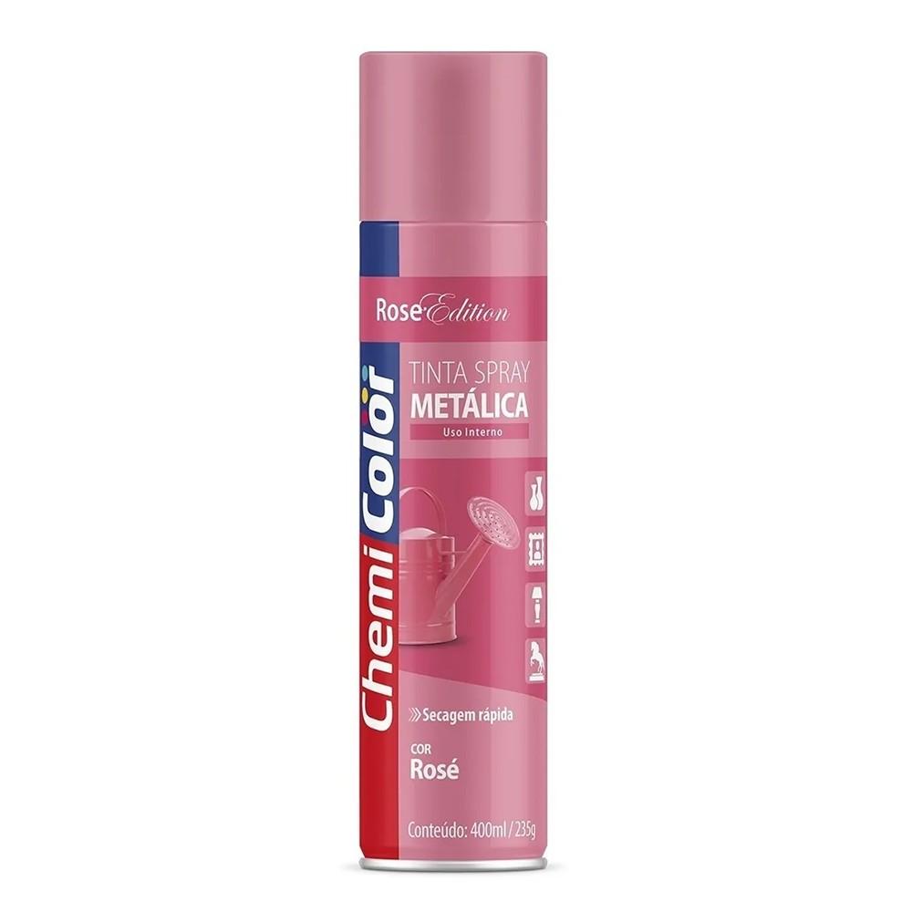Tinta Spray Metálica para Uso Interno Rosé 400ml ChemiColor