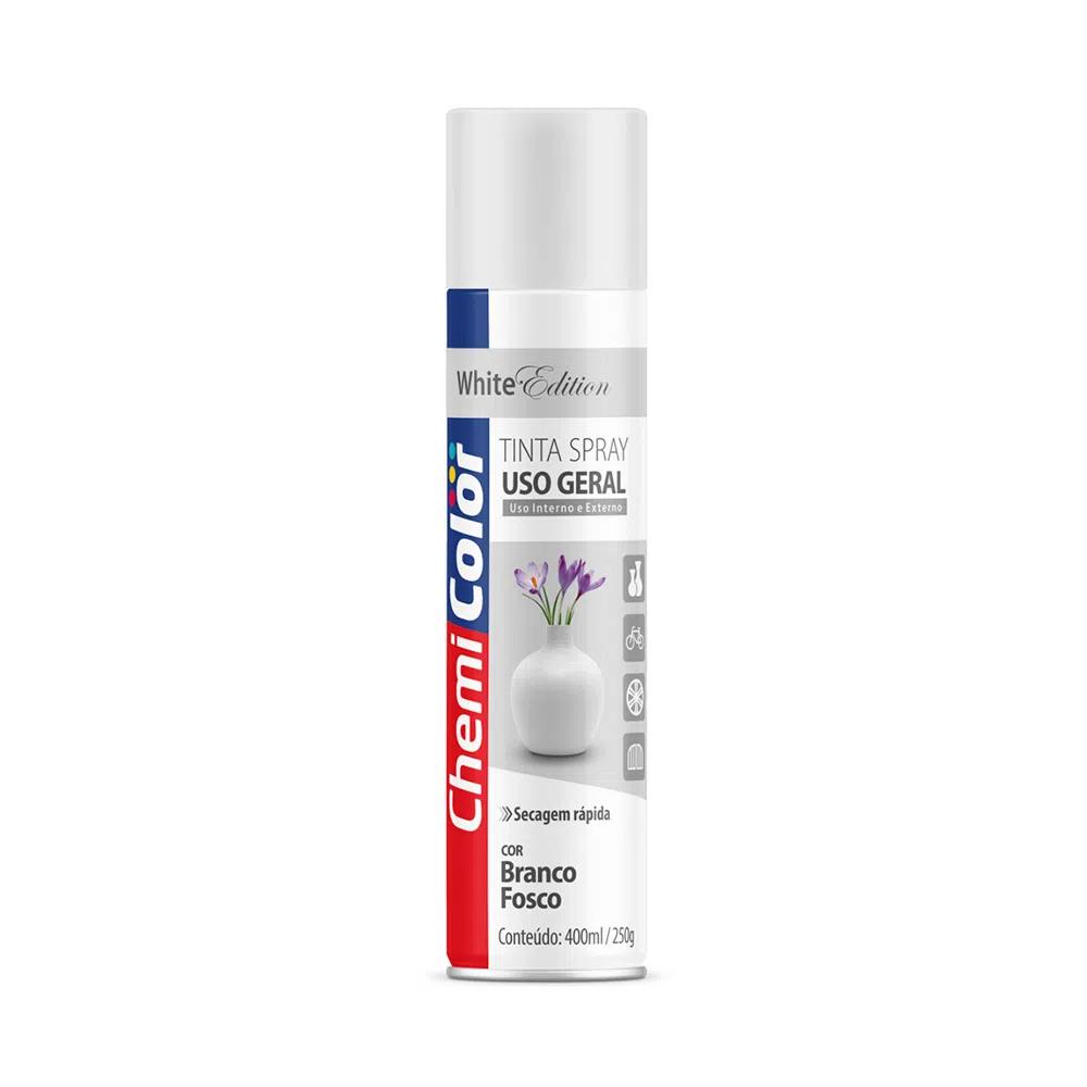Tinta Spray para Uso Geral Branco Fosco 400ml ChemiColor