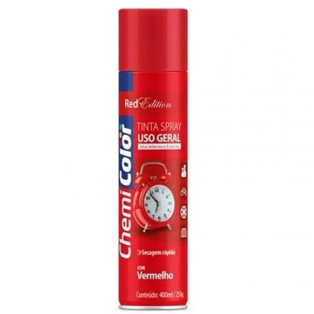 Tinta Spray para Uso Geral Vermelho 400ml / 250g ChemiColor