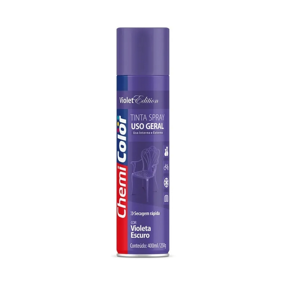 Tinta Spray para Uso Geral Violeta Escuro 400ml ChemiColor