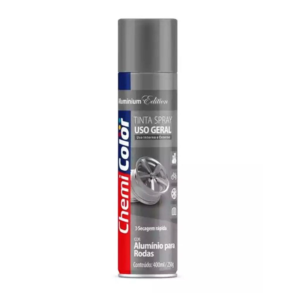 Tinta Spray Uso Geral Alumínio para Rodas 400ml ChemiColor