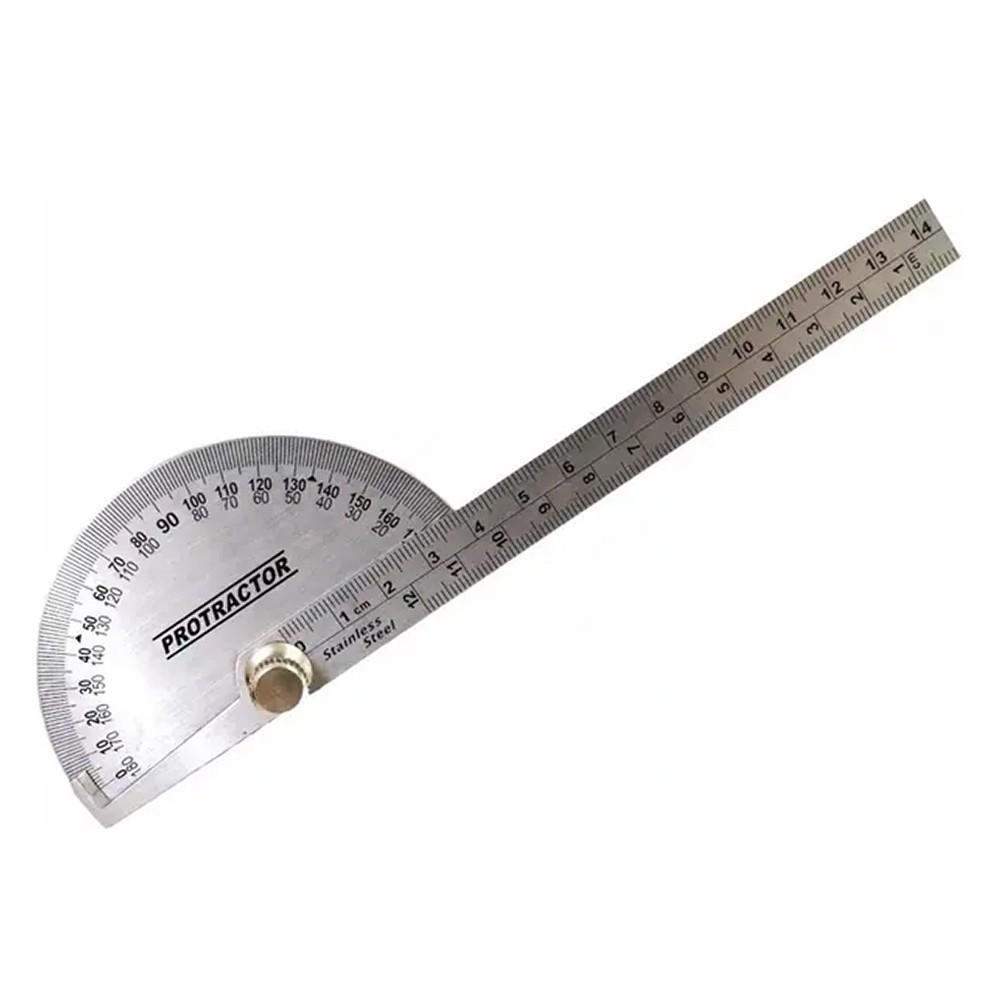 Transferidor de Grau 0 a 180° com Régua em Aço Inox 4GP Eda