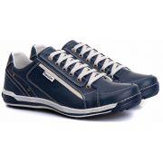 Sapatênis Masculino Couro Legítimo Azul Ranster Comfort -3006