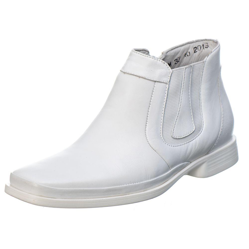 Botina Masculina em Couro Mestiço Branco Ranster Comfort -1055