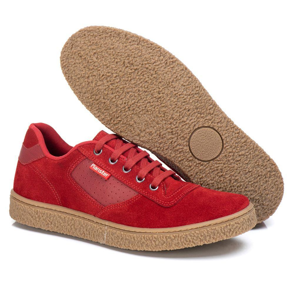 Sapatênis Masculino Couro Camurça Vermelho Ranster Comfort - 3017