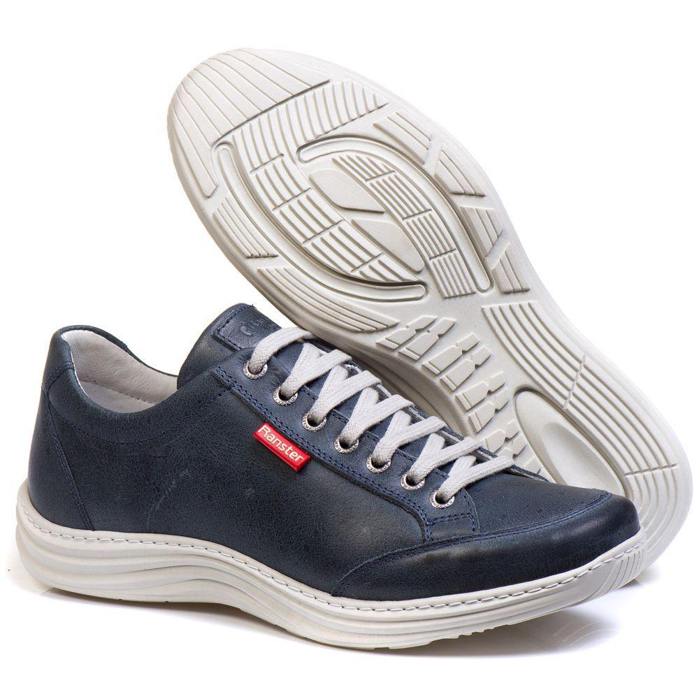 Sapatênis Masculino Couro Legítimo Azul Ranster Comfort - 3001
