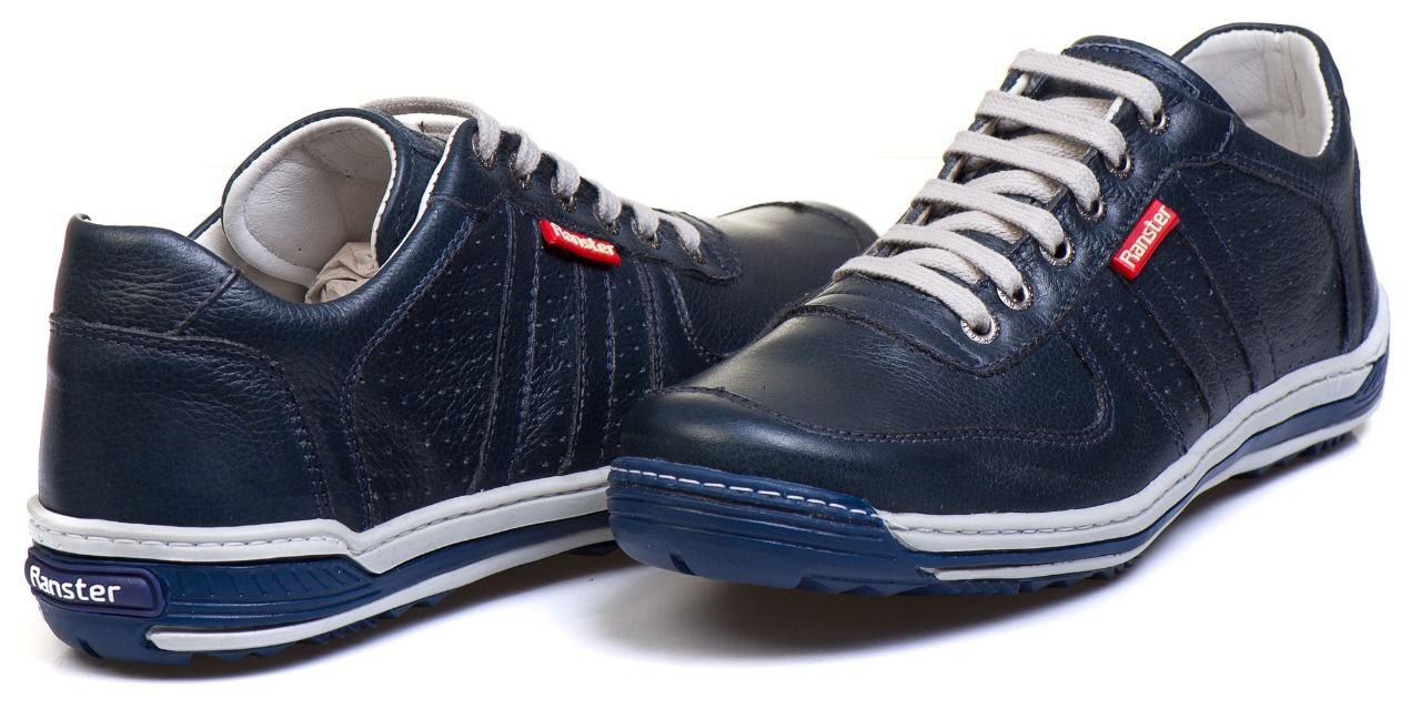 Sapatênis Masculino Couro Legítimo Azul Ranster Comfort - 3002