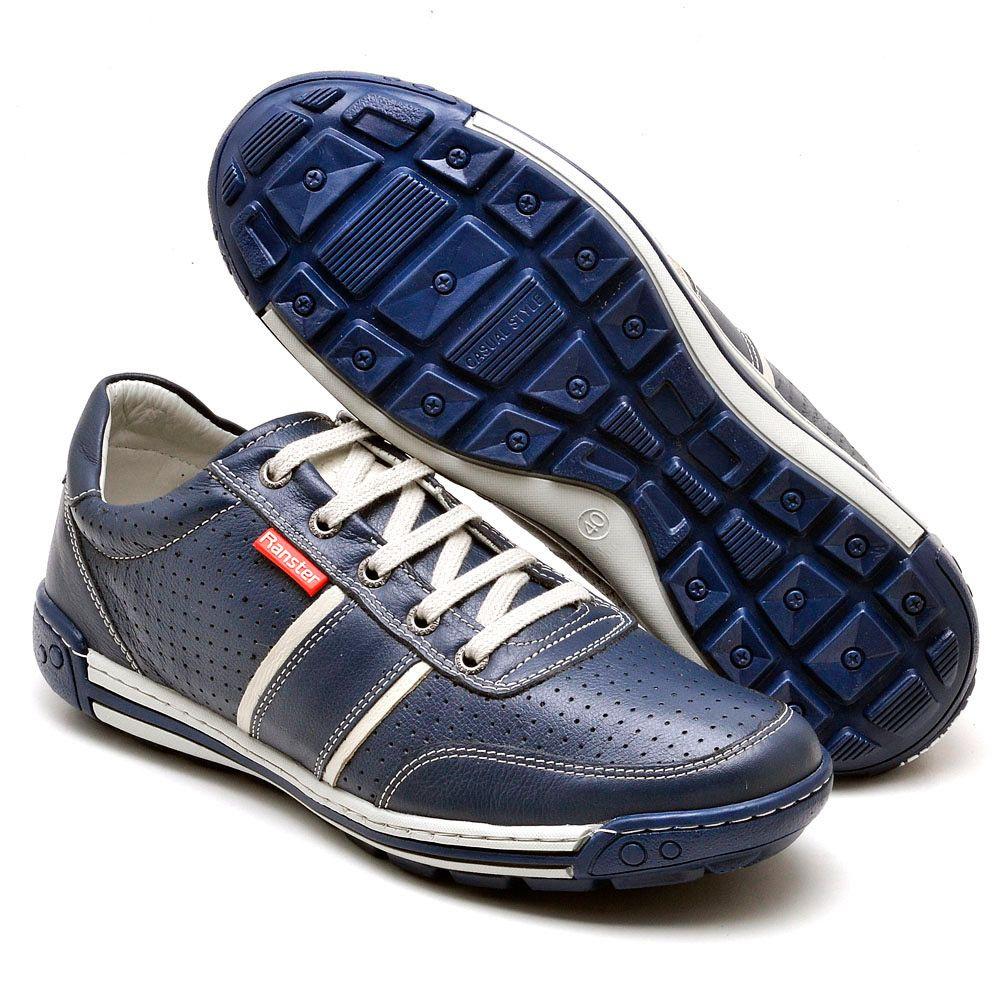 Sapatênis Masculino Couro Legítimo Azul Ranster Comfort - 3004