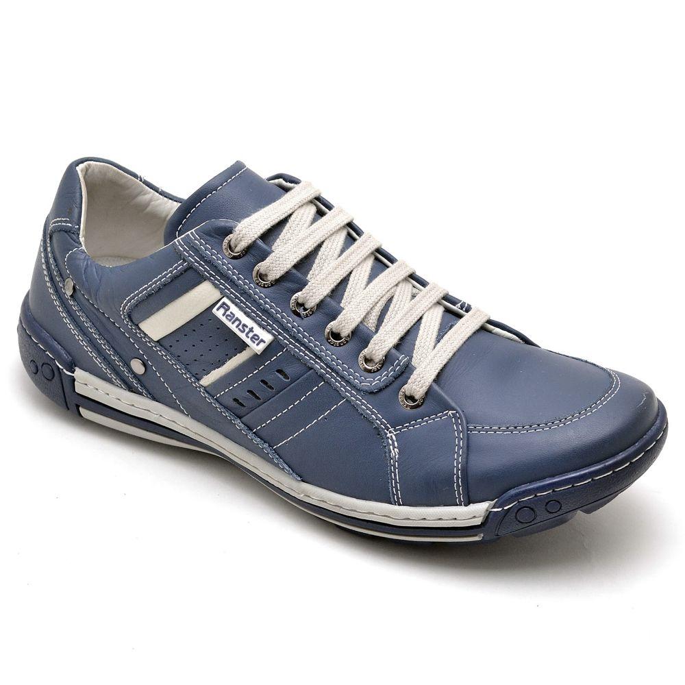 Sapatênis Masculino Couro Legítimo Azul Ranster Comfort - 3005
