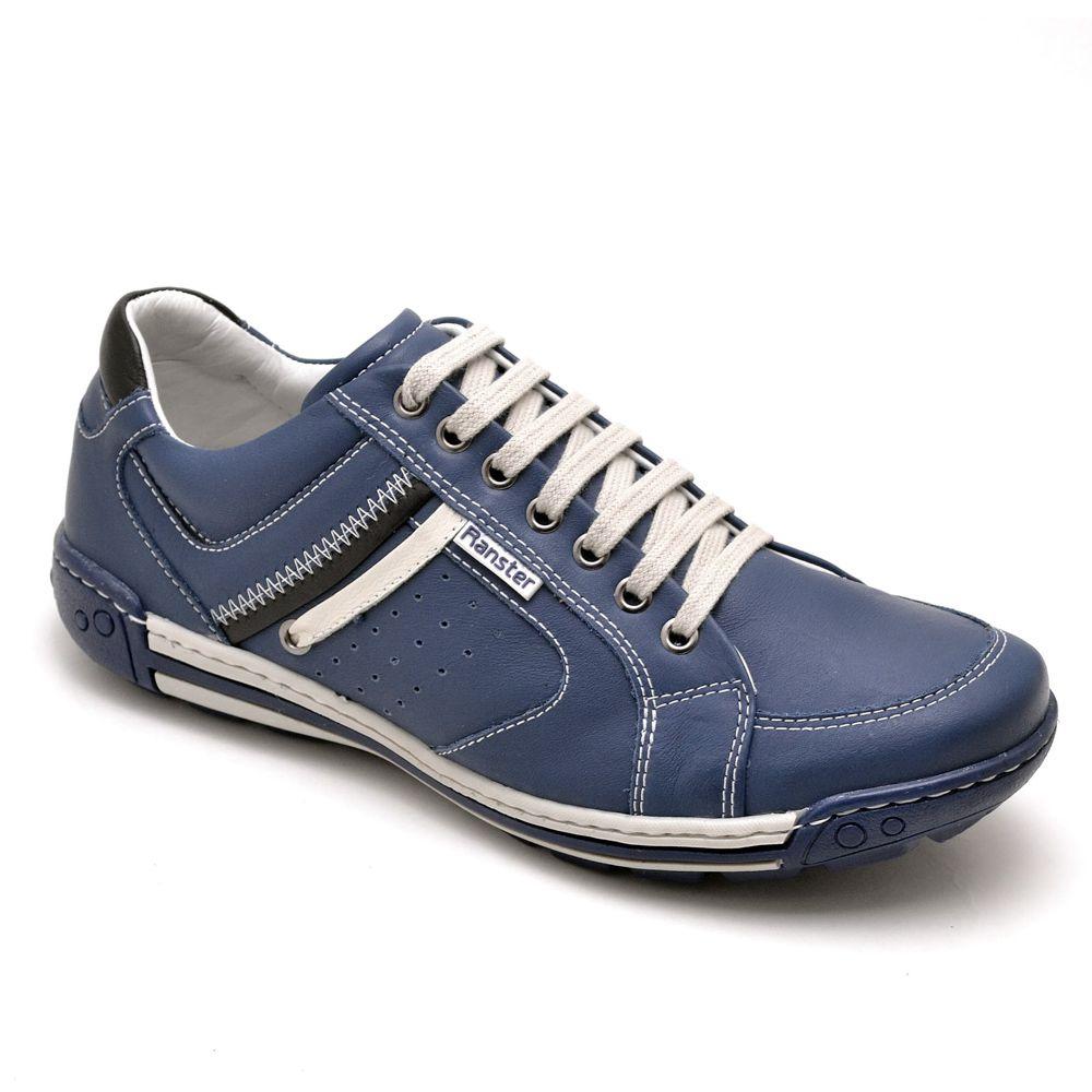 Sapatênis Masculino Couro Legítimo Azul Ranster Comfort - 3007