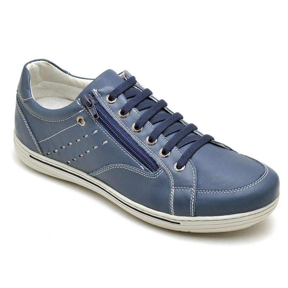 Sapatênis Masculino Couro Legítimo Azul Ranster Comfort - 3009