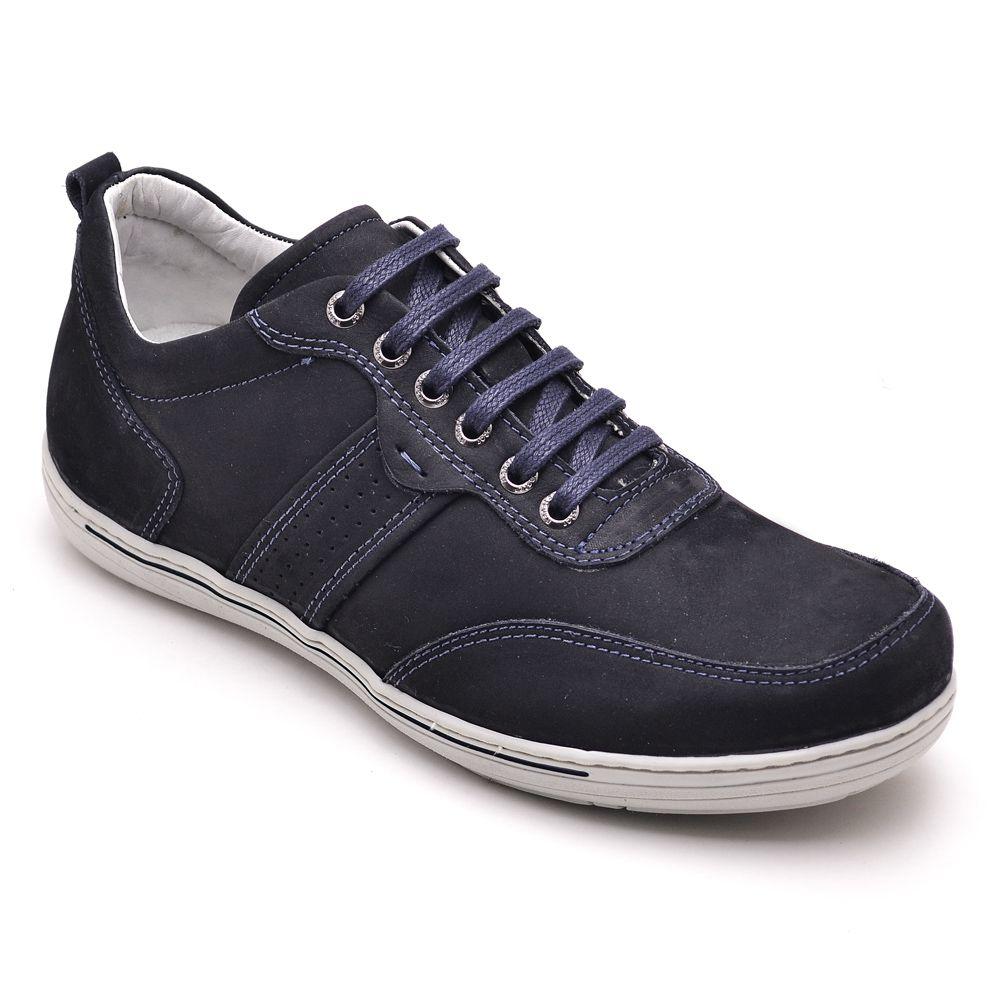 Sapatênis Masculino Couro Legítimo Azul Ranster Comfort - 3011