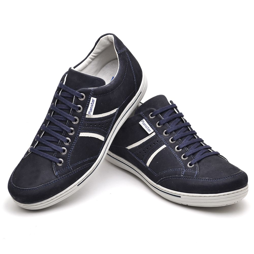 Sapatênis Masculino Couro Legítimo Azul Ranster Comfort - 3013