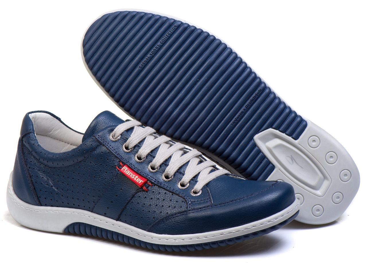 Sapatênis Masculino Couro Legítimo Azul Ranster Comfort - 3016