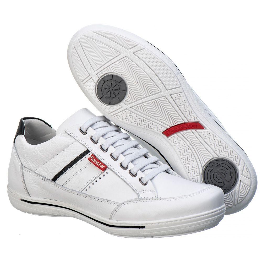 Sapatênis Masculino Couro Legítimo Branco  Ranster Comfort  - 3008