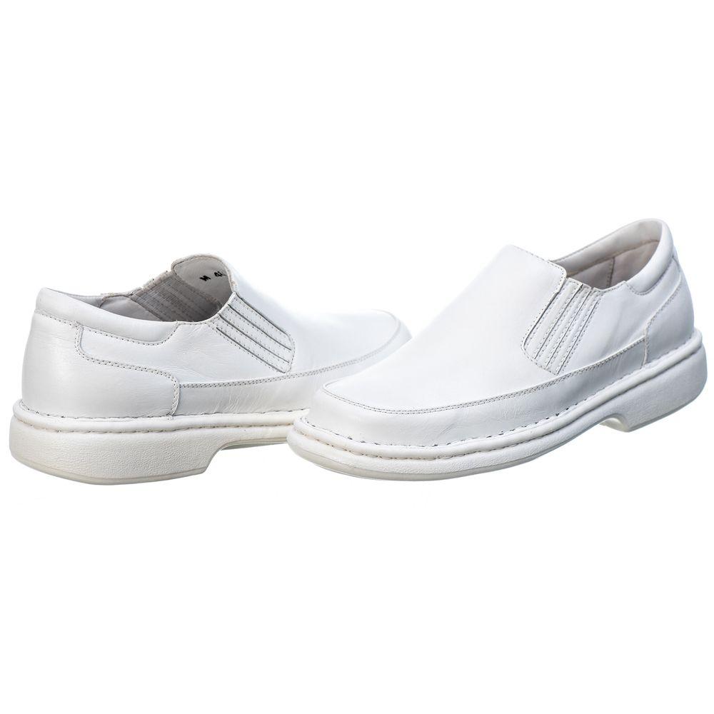Sapato Anti - Stress Masculino Couro Mestiço Branco Ranster Comfort - 2009