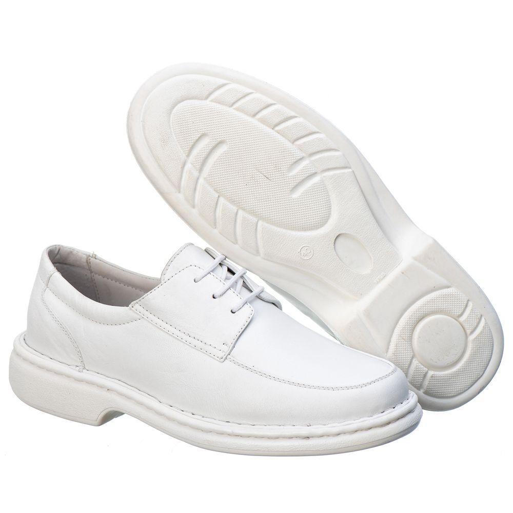 Sapato Anti - Stress Masculino em Couro Mestiço Branco Ranster Comfort - 2002