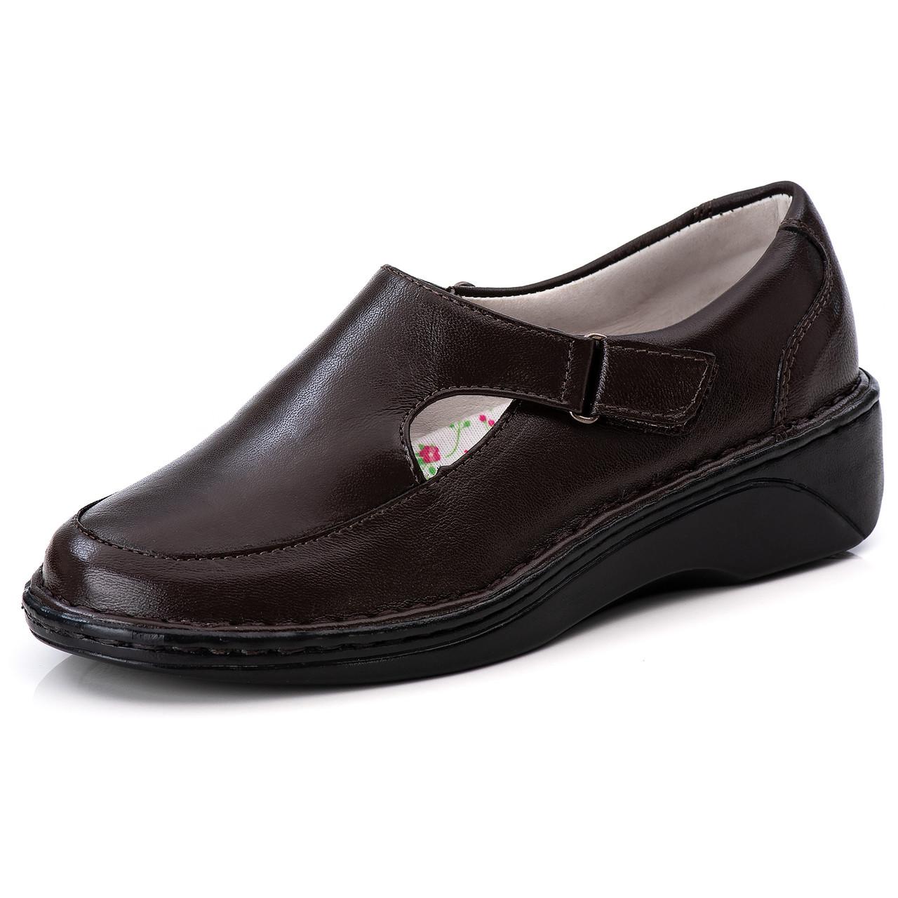 Sapato Antstress Feminino Café  em Couro Legitimo F-210