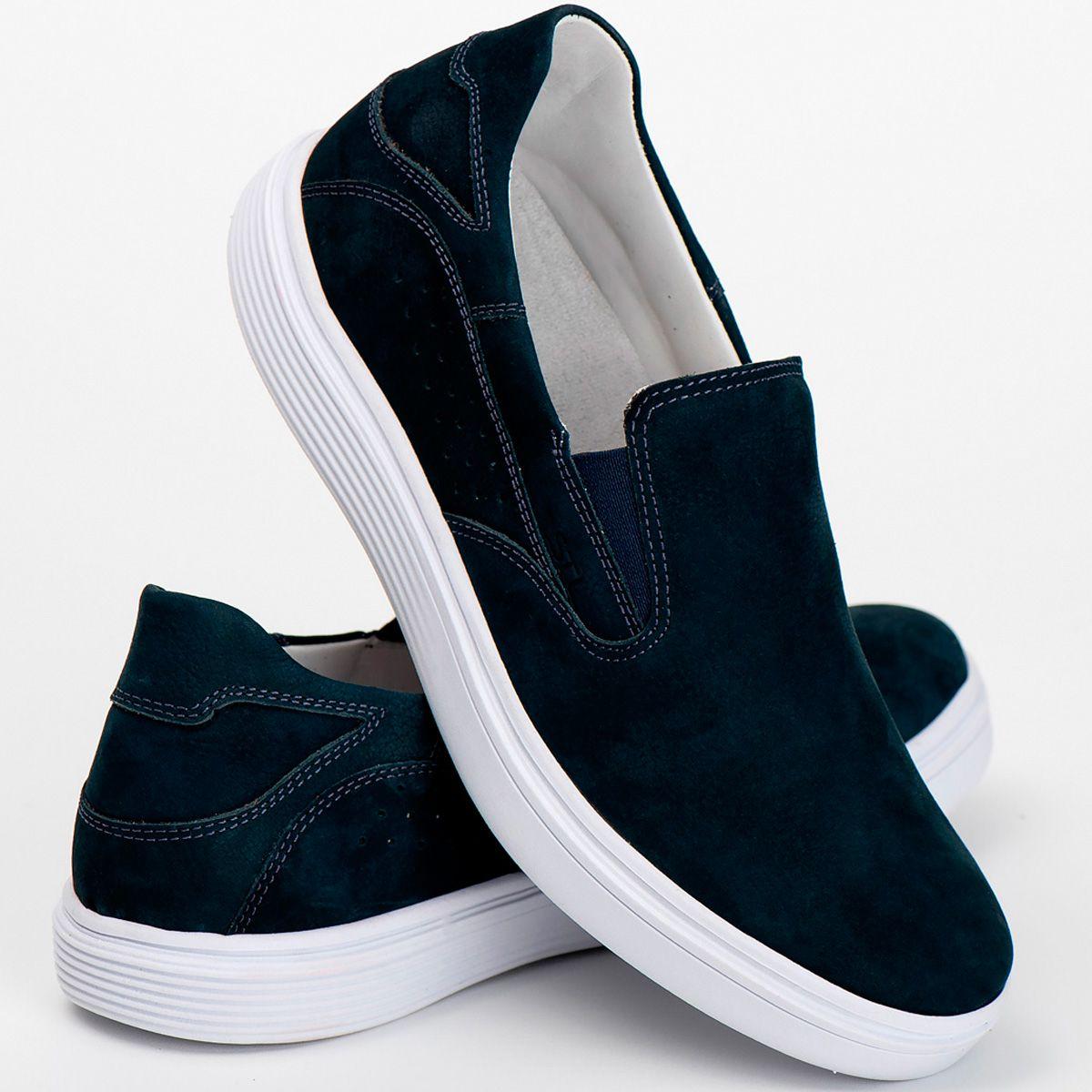 Slip on Masculino Couro Nobuck Azul Ranster Comfort - 3018