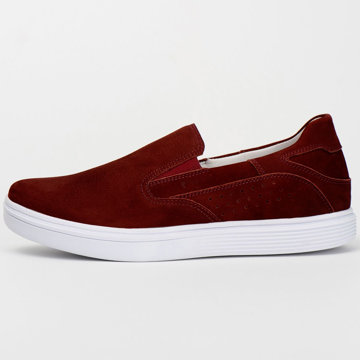 Slip On Masculino Couro Nobuck Bordo Ranster Comfort - 3018