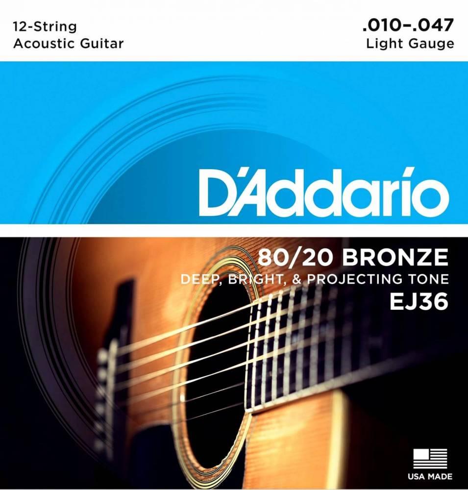 Encordoamento D'Addario EJ36 Light Violão 12C 0.10