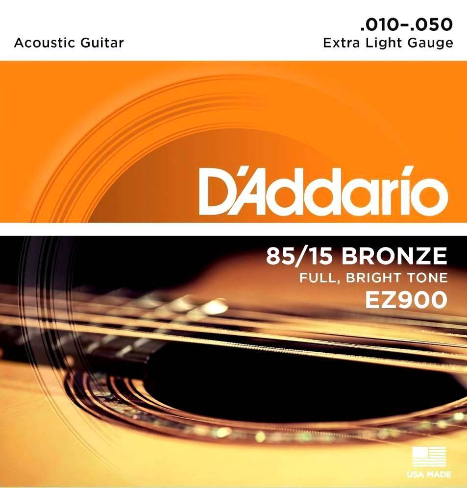 Encordoamento Violão Aço D'addario EZ900 Extra Light Violão 0.10