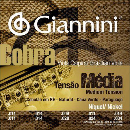 Jogo de Cordas para Viola Giannini CV82M Cobra Tensão Média Cebolão em Ré
