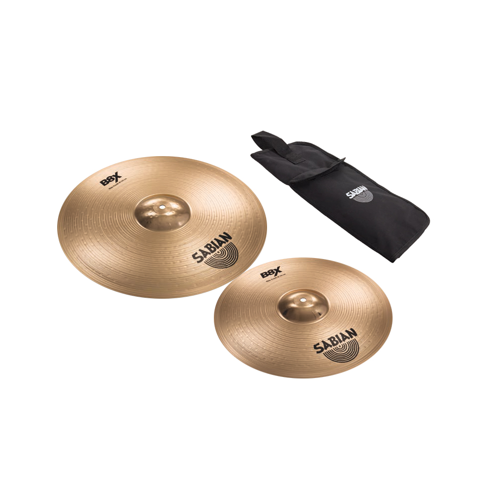 KIT PRATO SABIAN B8X CRASH E BUNDLE 18 DE 16 COM BAQUETA