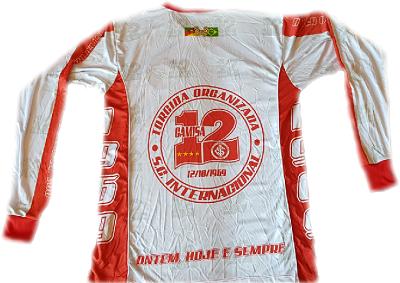 Camisa ML da Camisa 12 com a frente branca e Logos Boradados