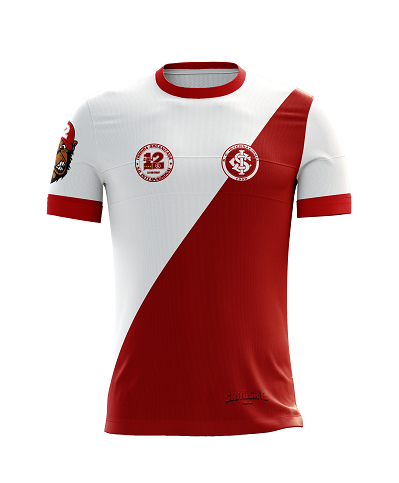 Camiseta Padrao de Jogo da Camisa 12 do Inter com Logotipos Bordados