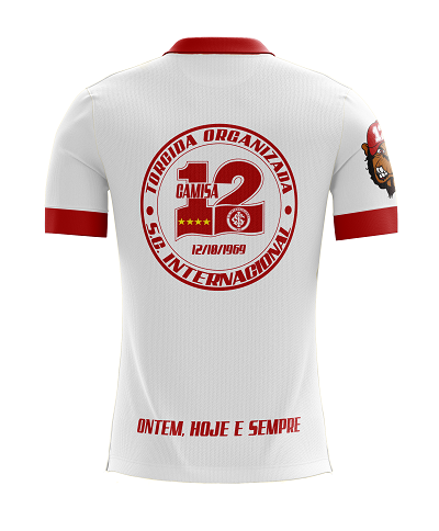 Camiseta Padrao de Jogo da Camisa 12 do Inter com Logotipos Bordados