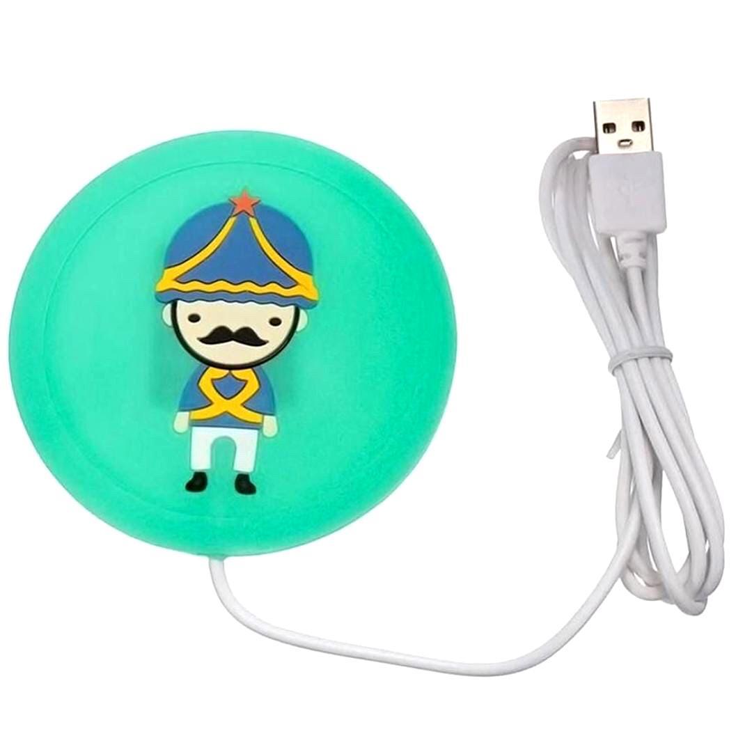 AQUECEDOR USB PARA COPO E CANECA CARTOON FEELINGS VERMELHO OU VERDE