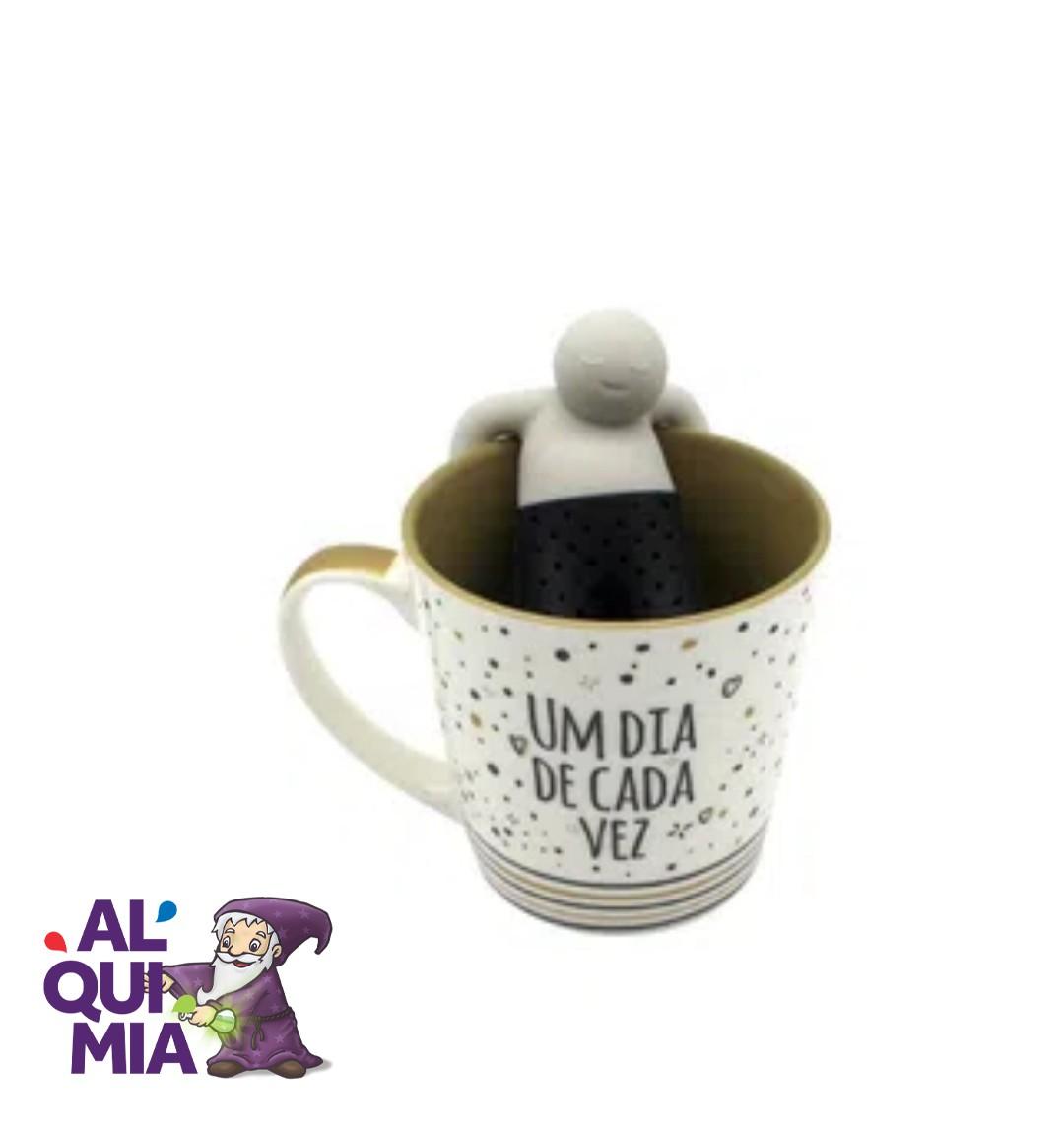 Caneca com infusor para chá dia de cada vez