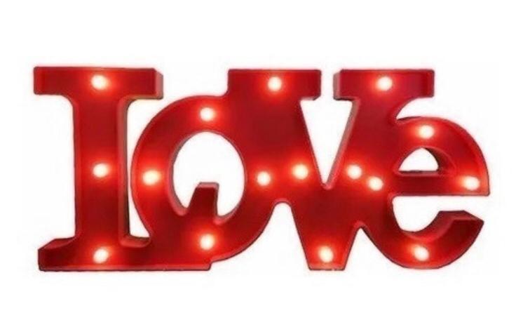Luminoso Palavra LOVE Vermelha LED / Duvidas WhatsApp (34) 9 9103-2567