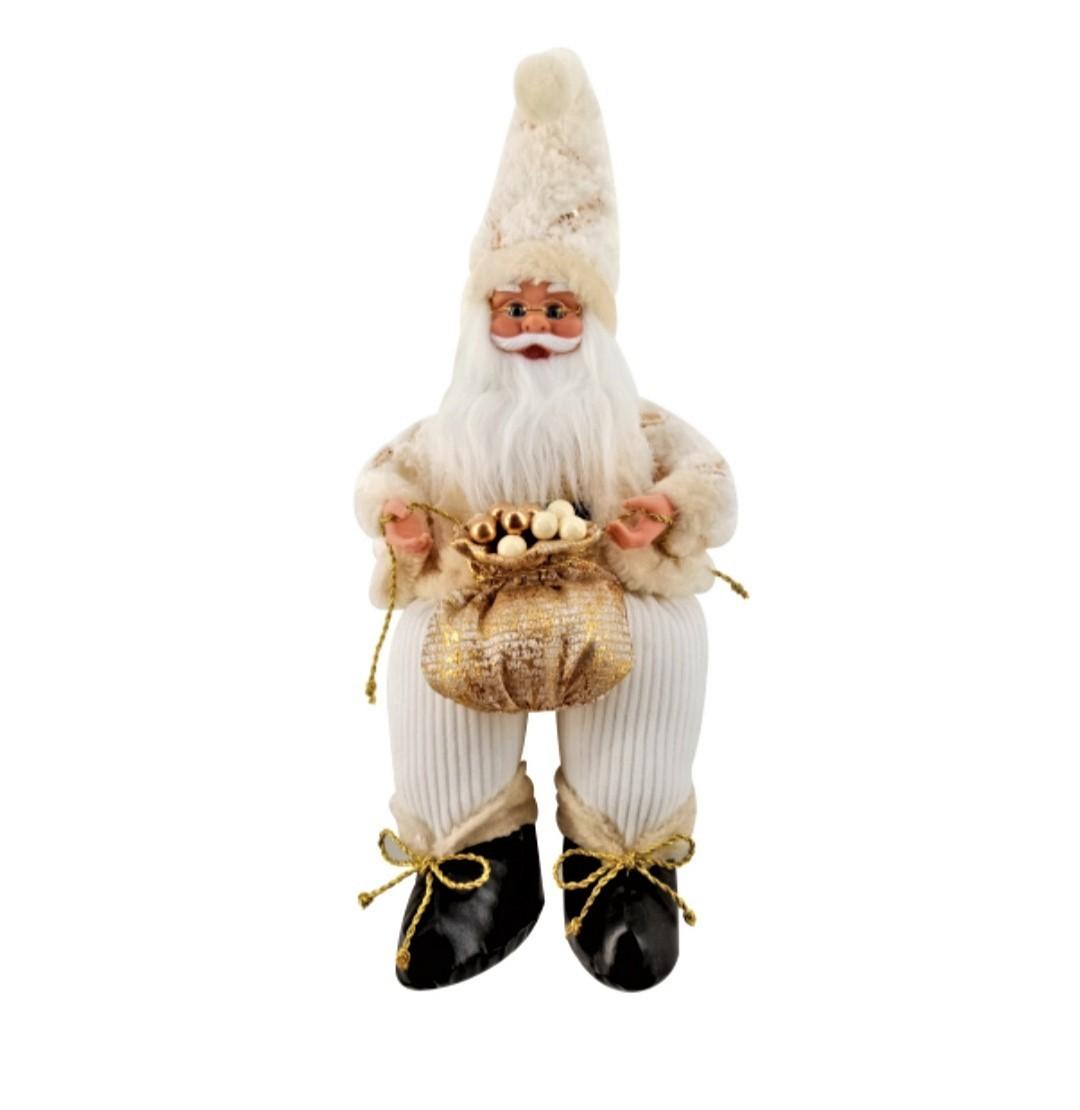 Papai Noel dourado sentado 40 cm