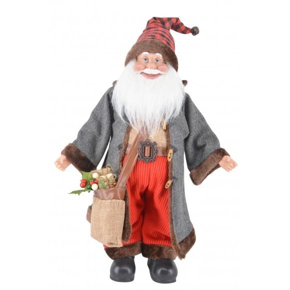 Papai Noel gorro xadrez 45 cm