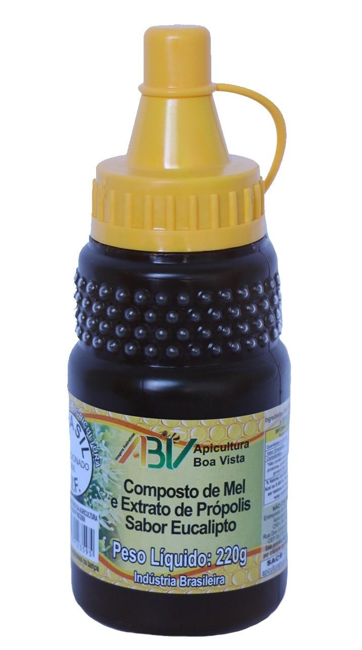 Composto de mel e extrato de própolis sabor eucalipto bisnaga 220g