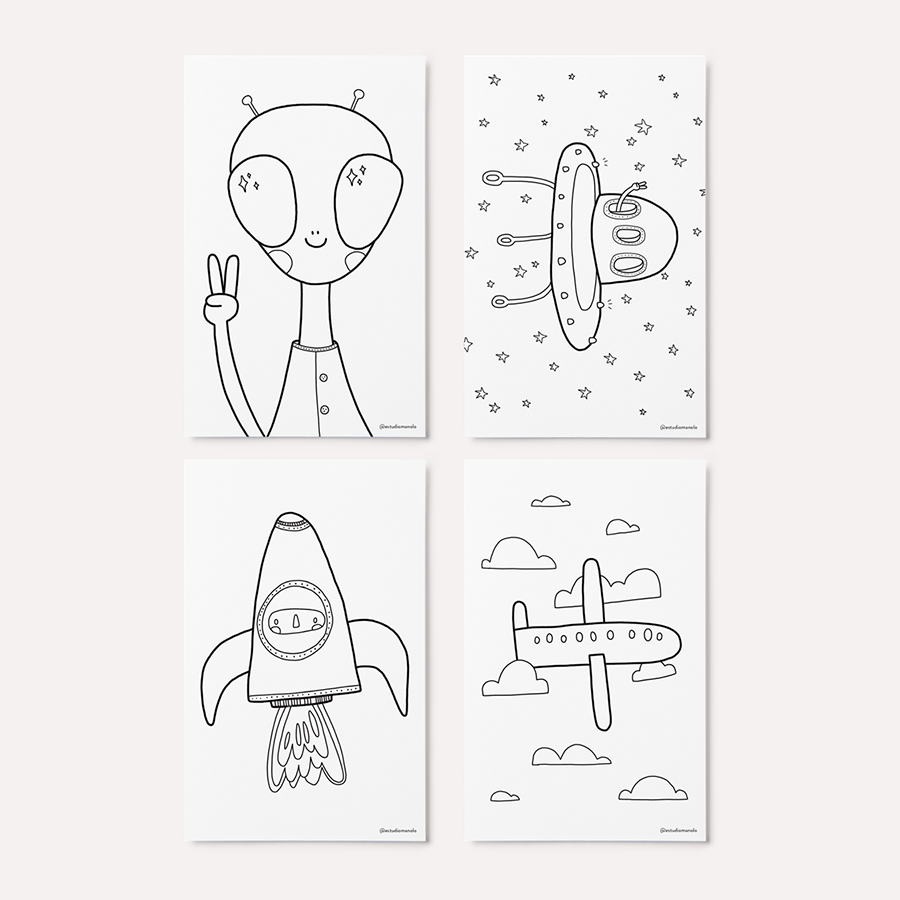 8 Cartões - Sortidos - Para Colorir (Ou Não)